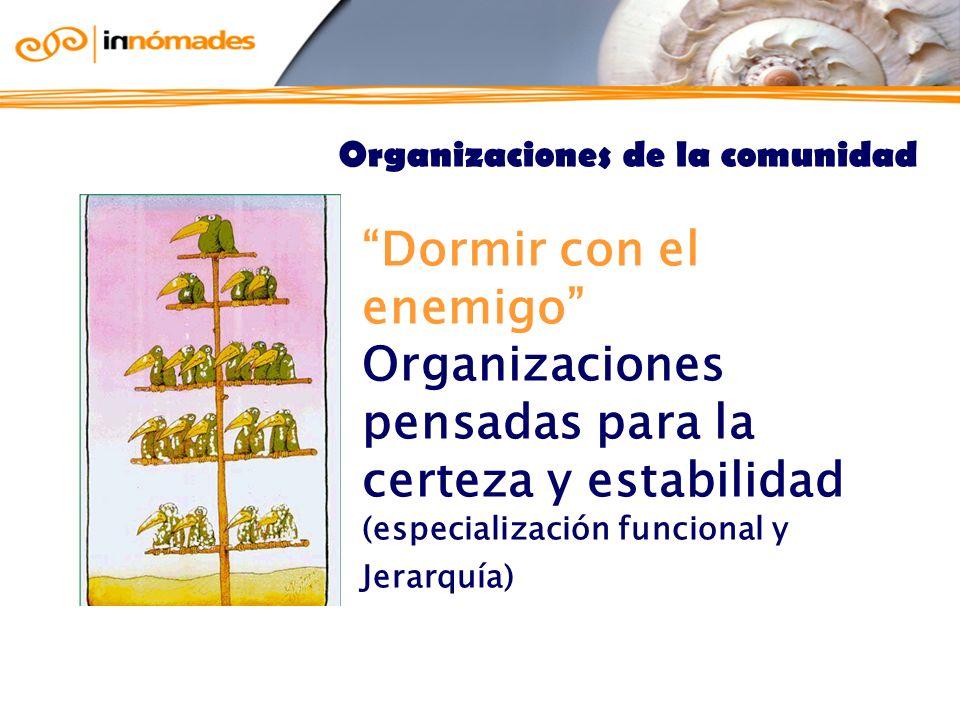 Dormir con el enemigo Organizaciones pensadas para la certeza y estabilidad (especialización funcional y Jerarquía) Organizaciones de la comunidad