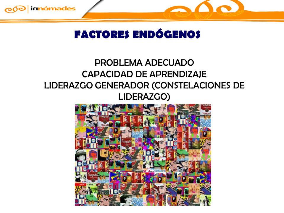 PROBLEMA ADECUADO CAPACIDAD DE APRENDIZAJE LIDERAZGO GENERADOR (CONSTELACIONES DE LIDERAZGO) FACTORES ENDÓGENOS