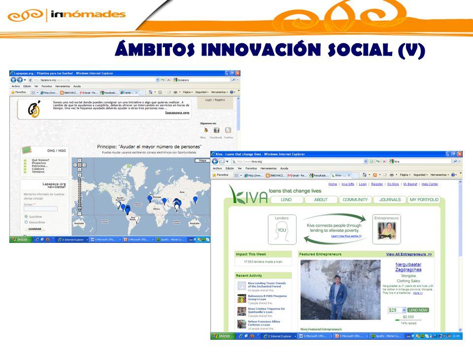 ÁMBITOS INNOVACIÓN SOCIAL (V)