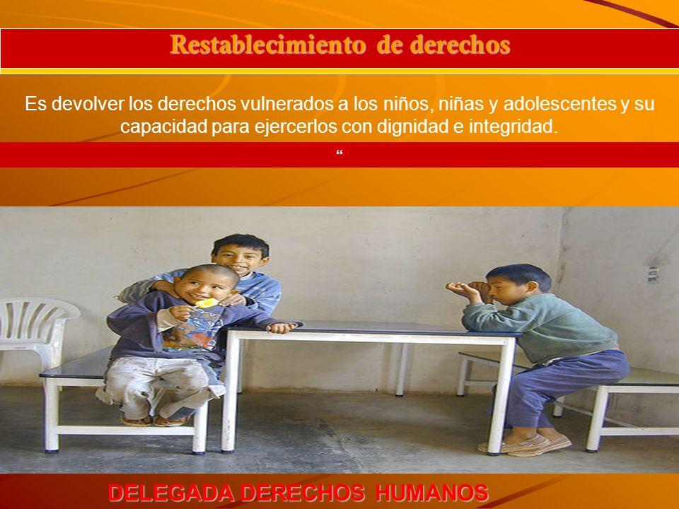 DELEGADA DERECHOS HUMANOS Restablecimiento de derechos Es devolver los derechos vulnerados a los niños, niñas y adolescentes y su capacidad para ejerc