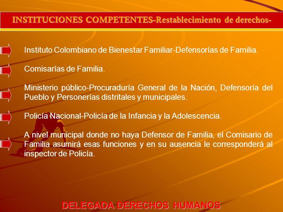 DELEGADA DERECHOS HUMANOS INSTITUCIONES COMPETENTES-Restablecimiento de derechos- Instituto Colombiano de Bienestar Familiar-Defensorías de Familia. C