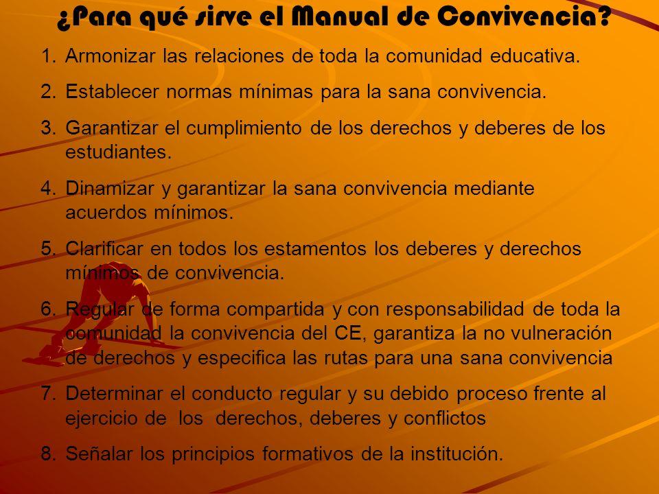 ¿Para qué sirve el Manual de Convivencia? 1.Armonizar las relaciones de toda la comunidad educativa. 2.Establecer normas mínimas para la sana conviven
