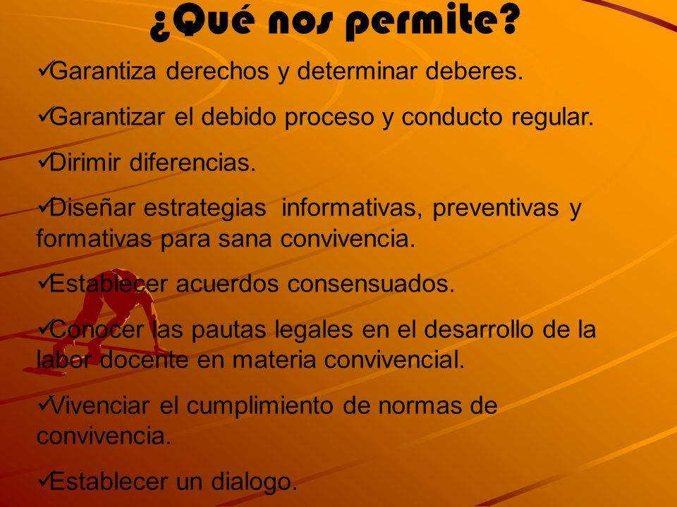 ¿Qué nos permite? Garantiza derechos y determinar deberes. Garantizar el debido proceso y conducto regular. Dirimir diferencias. Diseñar estrategias i