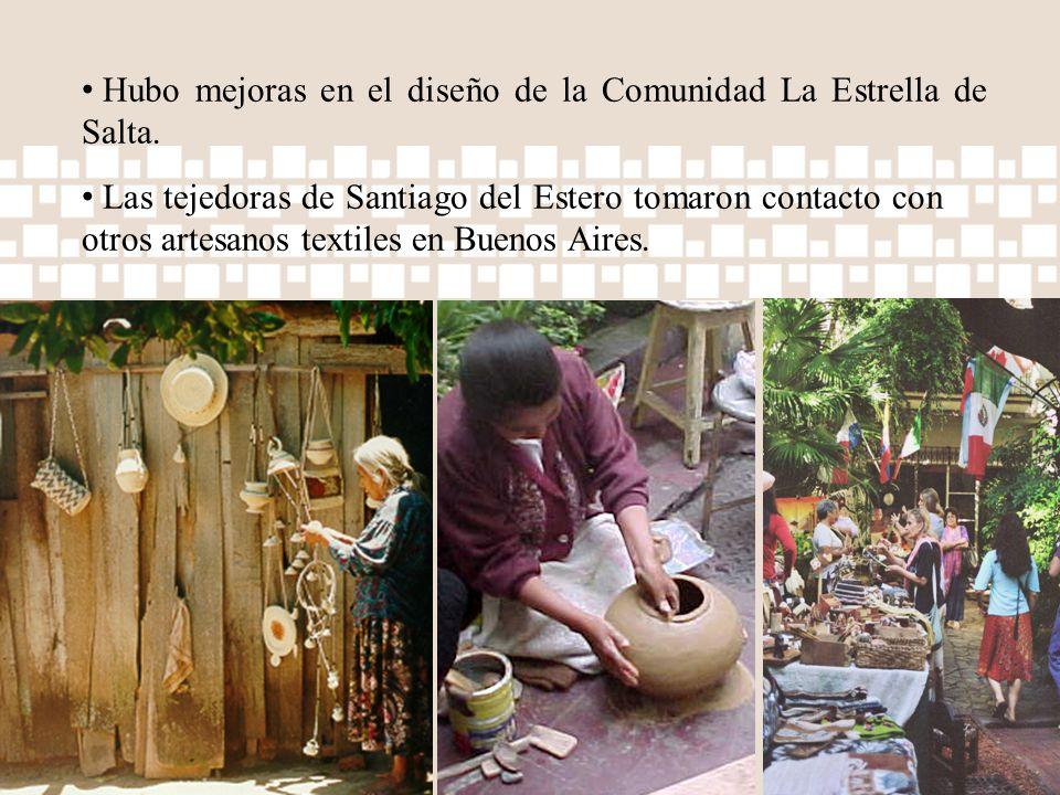 Hubo mejoras en el diseño de la Comunidad La Estrella de Salta. Las tejedoras de Santiago del Estero tomaron contacto con otros artesanos textiles en