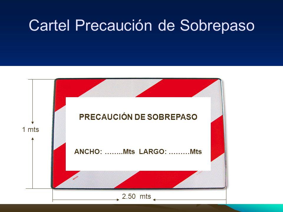 Cartel Precaución de Sobrepaso PRECAUCIÓN DE SOBREPASO ANCHO: ……..Mts LARGO: ………Mts 1 mts 2.50 mts