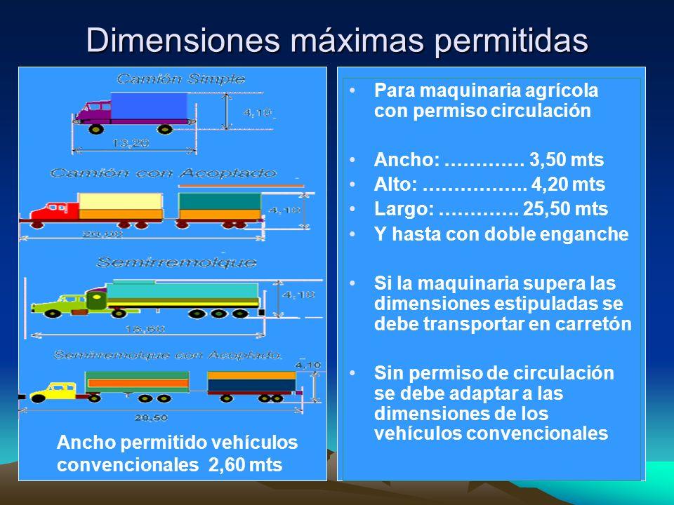 Dimensiones máximas permitidas Para maquinaria agrícola con permiso circulación Ancho: …………. 3,50 mts Alto: …………….. 4,20 mts Largo: …………. 25,50 mts Y