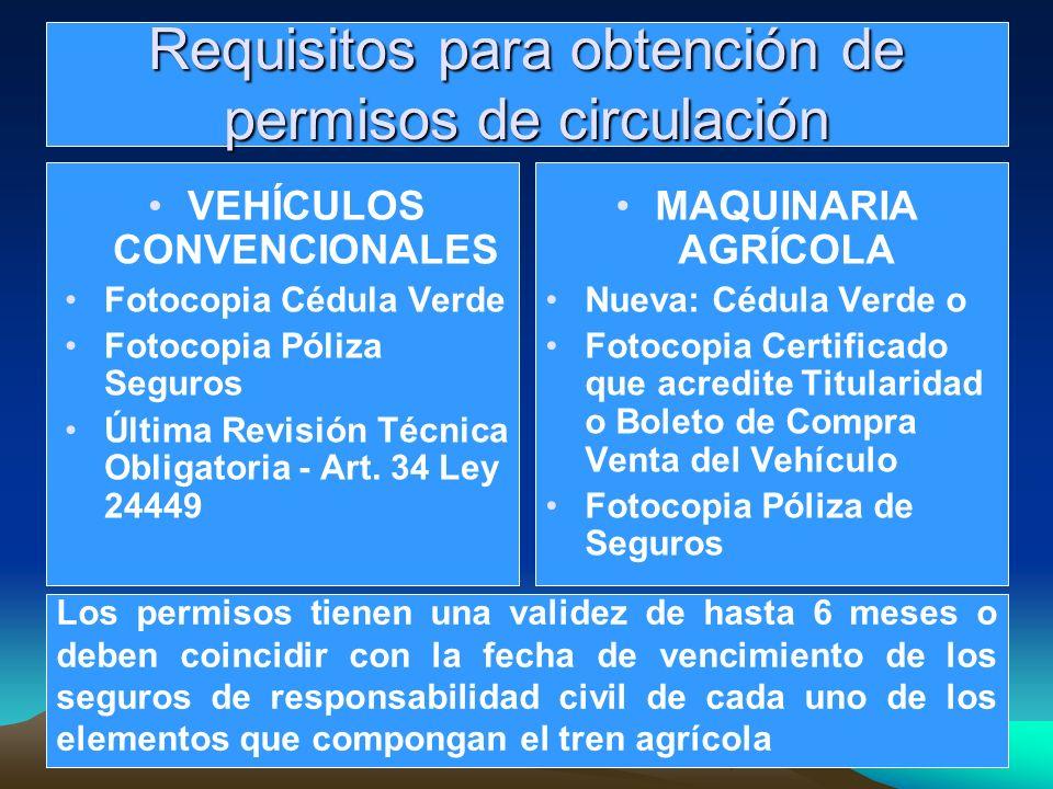 Requisitos para obtención de permisos de circulación VEHÍCULOS CONVENCIONALES Fotocopia Cédula Verde Fotocopia Póliza Seguros Última Revisión Técnica