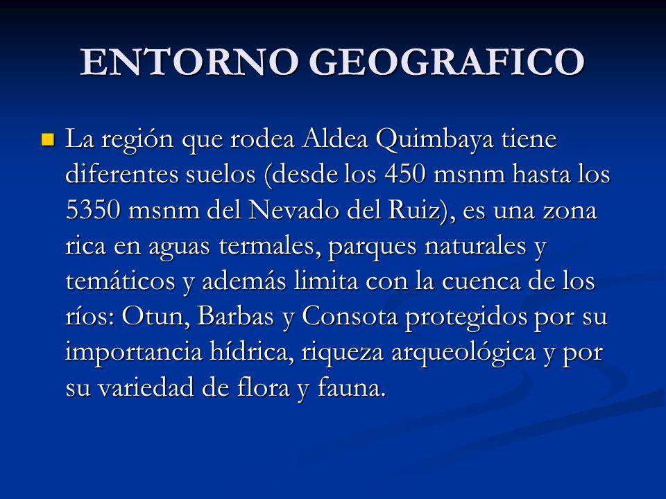 ENTORNO GEOGRAFICO La región que rodea Aldea Quimbaya tiene diferentes suelos (desde los 450 msnm hasta los 5350 msnm del Nevado del Ruiz), es una zon