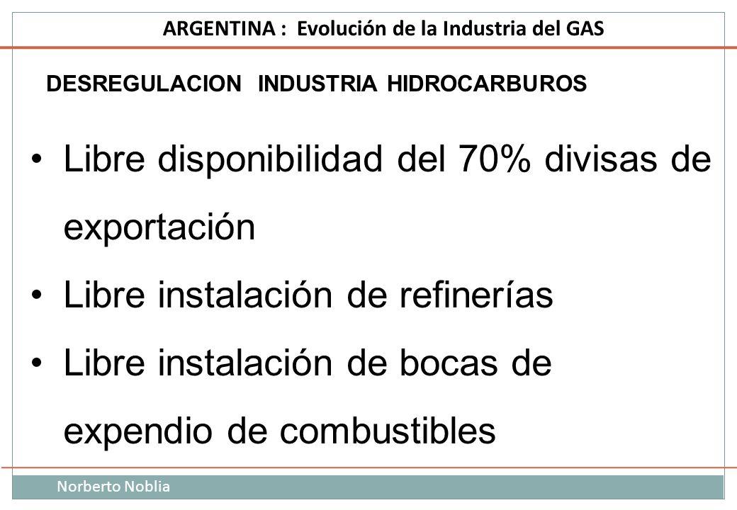Norberto Noblia ARGENTINA : Evolución de la Industria del GAS DESREGULACION INDUSTRIA HIDROCARBUROS Libre disponibilidad del 70% divisas de exportació