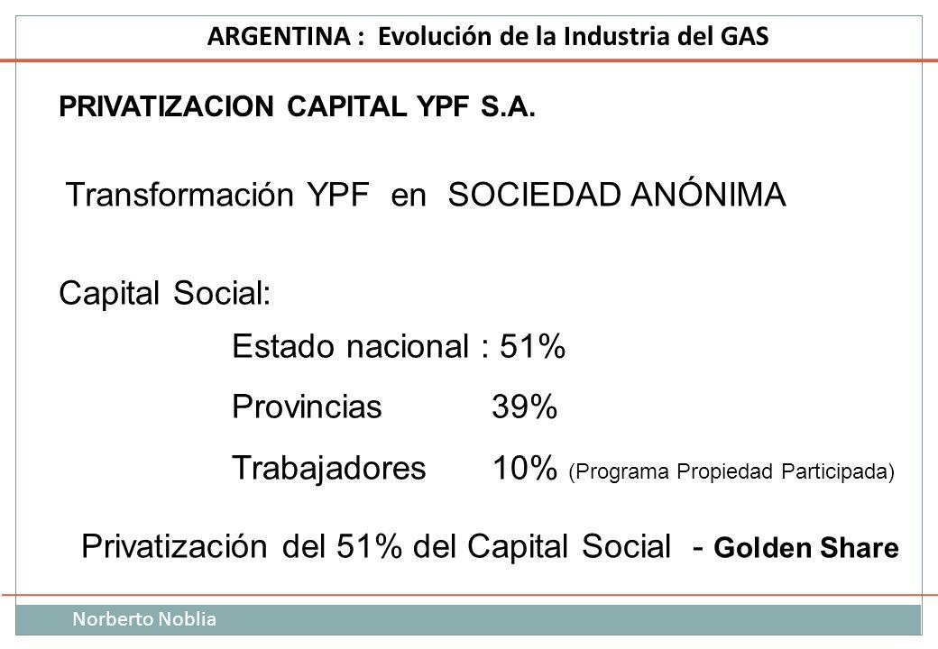 Norberto Noblia ARGENTINA : Evolución de la Industria del GAS PRIVATIZACION CAPITAL YPF S.A. Privatización del 51% del Capital Social - Golden Share T