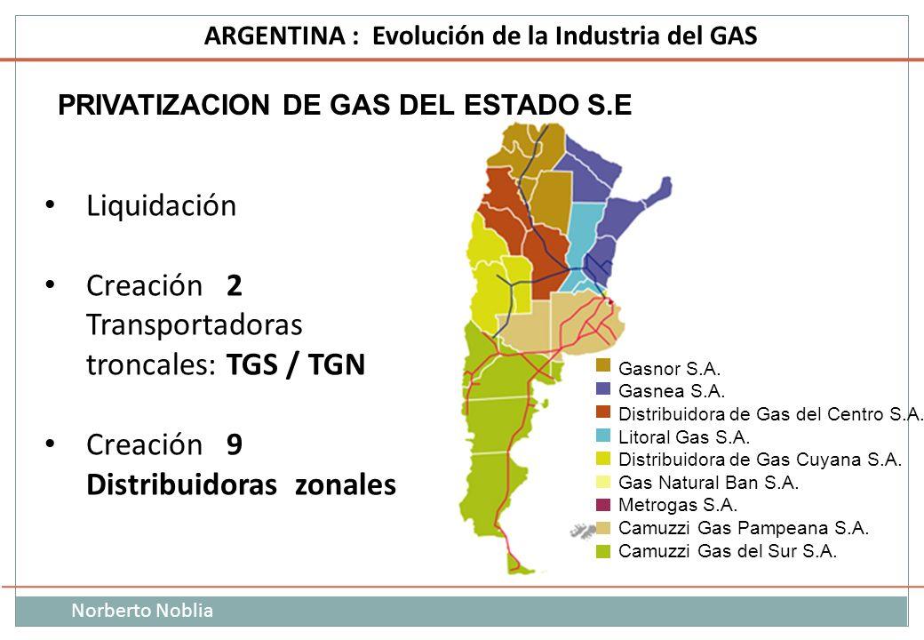 Norberto Noblia ARGENTINA : Evolución de la Industria del GAS PRIVATIZACION DE GAS DEL ESTADO S.E Liquidación Creación 2 Transportadoras troncales: TG