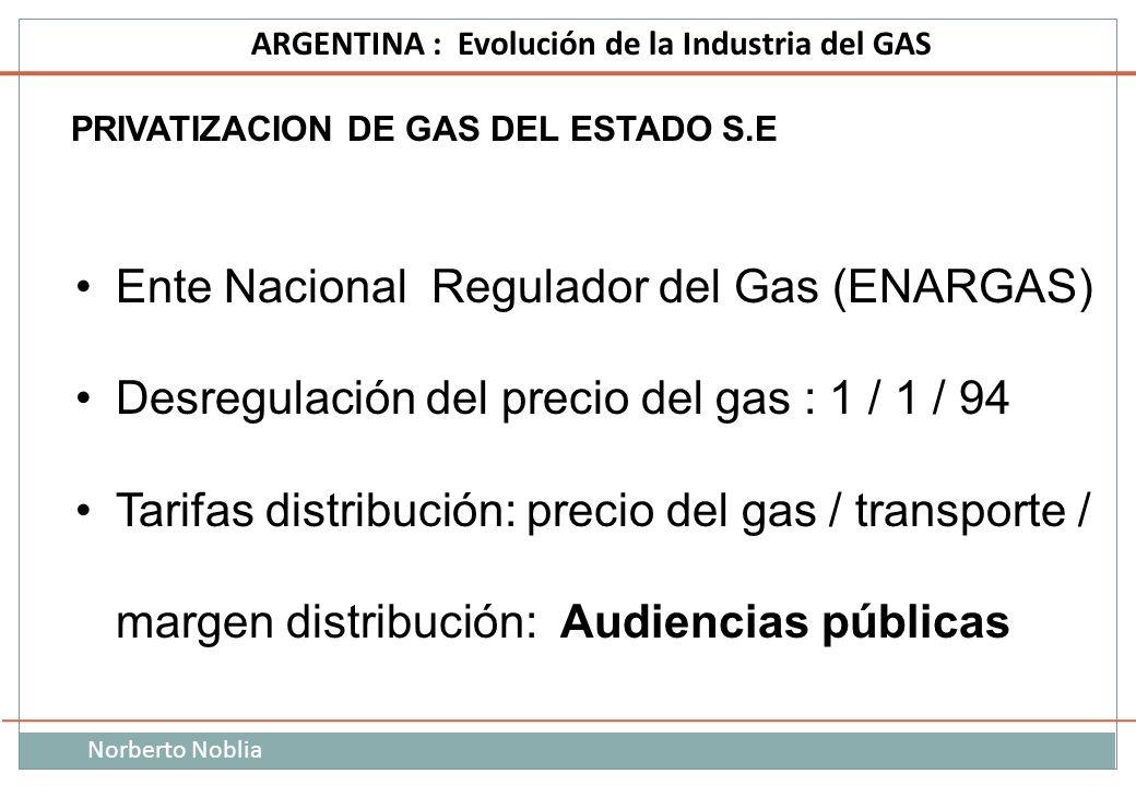 Norberto Noblia ARGENTINA : Evolución de la Industria del GAS PRIVATIZACION DE GAS DEL ESTADO S.E Ente Nacional Regulador del Gas (ENARGAS) Desregulac