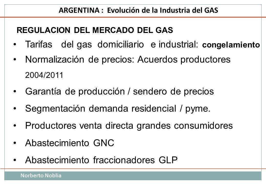 Norberto Noblia ARGENTINA : Evolución de la Industria del GAS REGULACION DEL MERCADO DEL GAS Tarifas del gas domiciliario e industrial: congelamiento