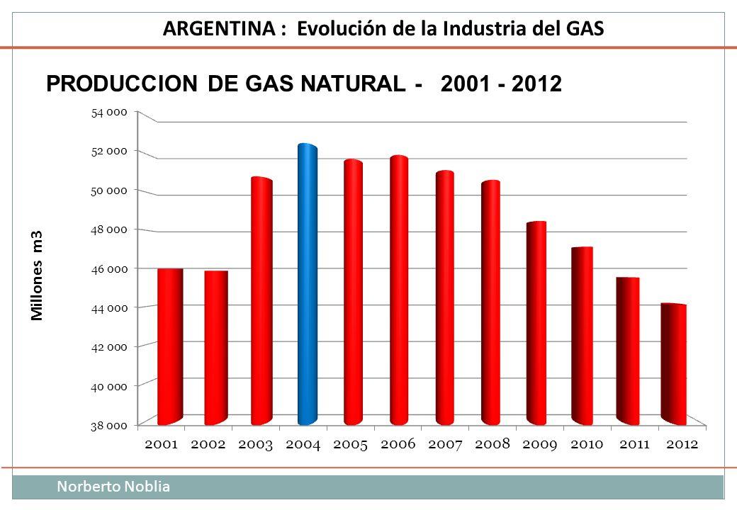 Norberto Noblia ARGENTINA : Evolución de la Industria del GAS PRODUCCION DE GAS NATURAL - 2001 - 2012 Millones m3