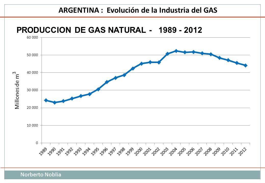 Norberto Noblia ARGENTINA : Evolución de la Industria del GAS Millones de m 3 PRODUCCION DE GAS NATURAL - 1989 - 2012