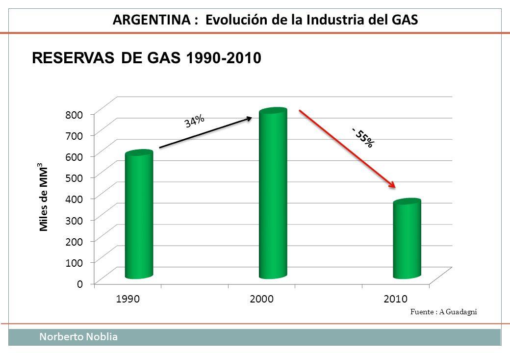 Norberto Noblia ARGENTINA : Evolución de la Industria del GAS RESERVAS DE GAS 1990-2010 Miles de MM 3 34% Fuente : A Guadagni
