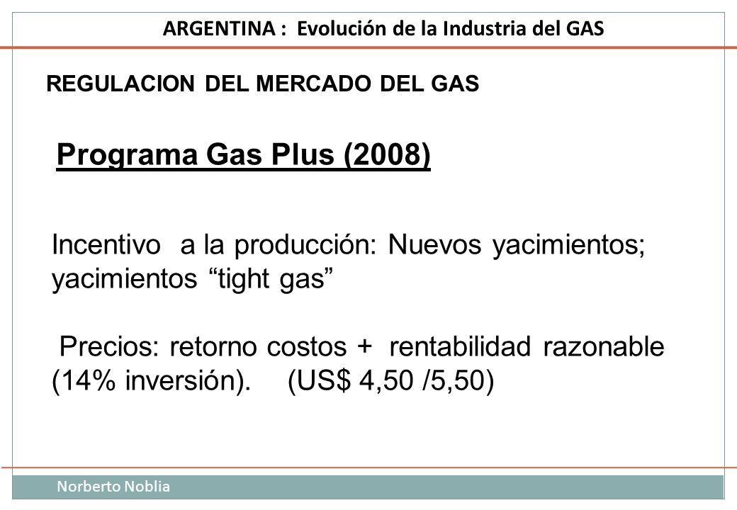 Norberto Noblia ARGENTINA : Evolución de la Industria del GAS REGULACION DEL MERCADO DEL GAS Programa Gas Plus (2008) Incentivo a la producción: Nuevo