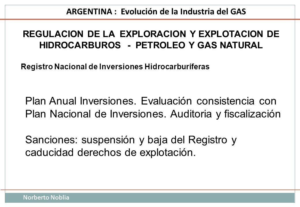 Norberto Noblia ARGENTINA : Evolución de la Industria del GAS REGULACION DE LA EXPLORACION Y EXPLOTACION DE HIDROCARBUROS - PETROLEO Y GAS NATURAL Reg