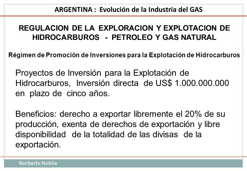 Norberto Noblia ARGENTINA : Evolución de la Industria del GAS REGULACION DE LA EXPLORACION Y EXPLOTACION DE HIDROCARBUROS - PETROLEO Y GAS NATURAL Rég