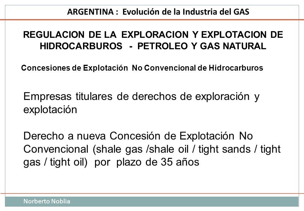 Norberto Noblia ARGENTINA : Evolución de la Industria del GAS REGULACION DE LA EXPLORACION Y EXPLOTACION DE HIDROCARBUROS - PETROLEO Y GAS NATURAL Con