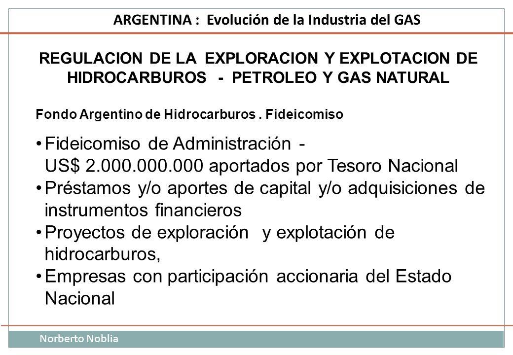 Norberto Noblia ARGENTINA : Evolución de la Industria del GAS REGULACION DE LA EXPLORACION Y EXPLOTACION DE HIDROCARBUROS - PETROLEO Y GAS NATURAL Fon