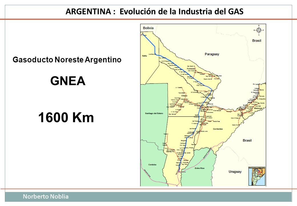Norberto Noblia ARGENTINA : Evolución de la Industria del GAS Gasoducto Noreste Argentino GNEA 1600 Km