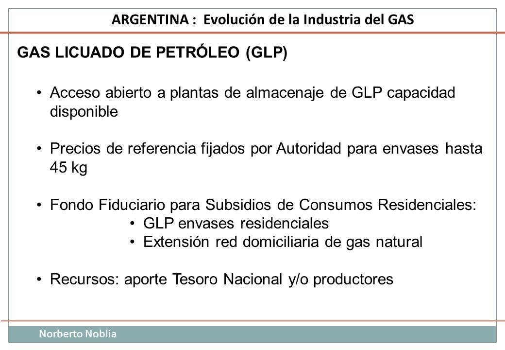 Norberto Noblia ARGENTINA : Evolución de la Industria del GAS GAS LICUADO DE PETRÓLEO (GLP) Acceso abierto a plantas de almacenaje de GLP capacidad di