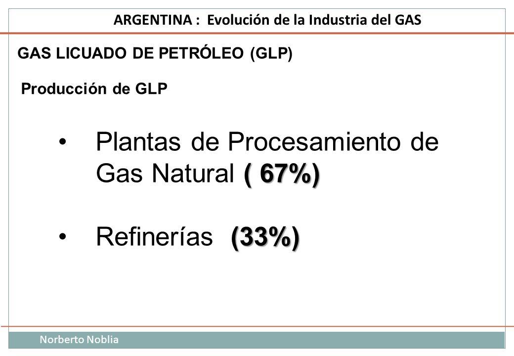 Norberto Noblia ARGENTINA : Evolución de la Industria del GAS Producción de GLP ( 67%)Plantas de Procesamiento de Gas Natural ( 67%) (33%)Refinerías (
