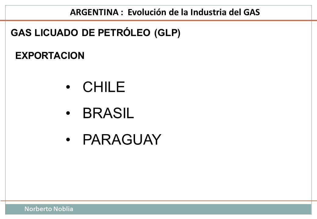 Norberto Noblia ARGENTINA : Evolución de la Industria del GAS CHILE BRASIL PARAGUAY EXPORTACION GAS LICUADO DE PETRÓLEO (GLP)