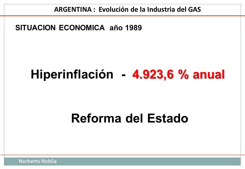 Norberto Noblia ARGENTINA : Evolución de la Industria del GAS SITUACION ECONOMICA año 1989 4.923,6 % anual Hiperinflación - 4.923,6 % anual Reforma de