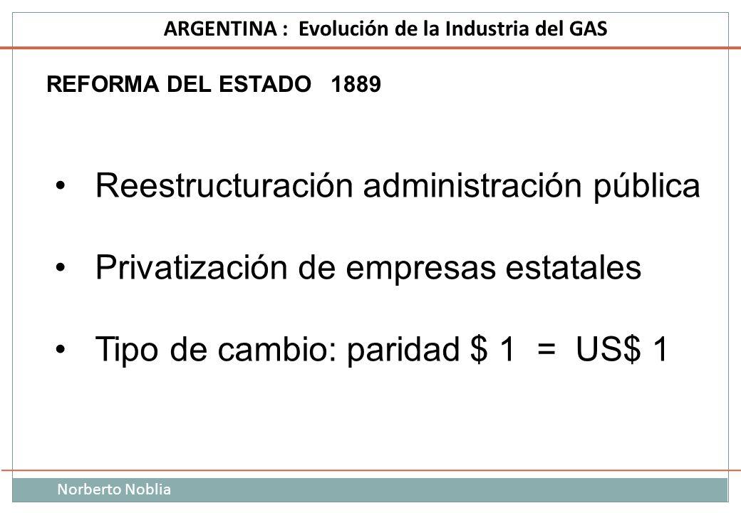 Norberto Noblia ARGENTINA : Evolución de la Industria del GAS REFORMA DEL ESTADO 1889 Reestructuración administración pública Privatización de empresa