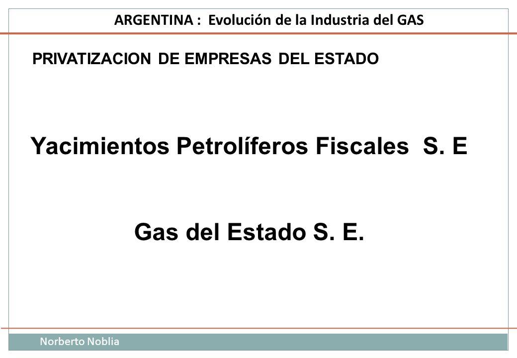 Norberto Noblia ARGENTINA : Evolución de la Industria del GAS PRIVATIZACION DE EMPRESAS DEL ESTADO Yacimientos Petrolíferos Fiscales S. E Gas del Esta