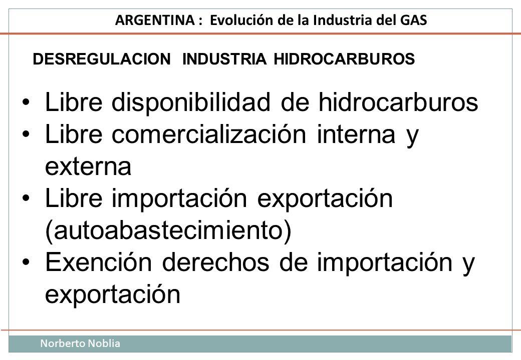 Norberto Noblia ARGENTINA : Evolución de la Industria del GAS DESREGULACION INDUSTRIA HIDROCARBUROS Libre disponibilidad de hidrocarburos Libre comerc