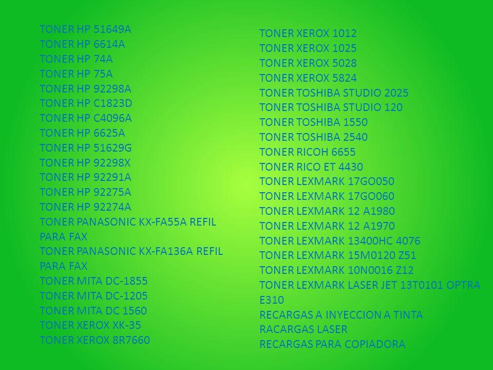 TONER HP 51649A TONER HP 6614A TONER HP 74A TONER HP 75A TONER HP 92298A TONER HP C1823D TONER HP C4096A TONER HP 6625A TONER HP 51629G TONER HP 92298