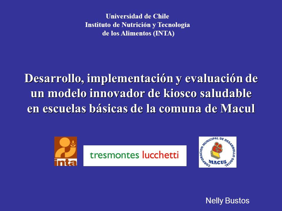 Desarrollo, implementación y evaluación de un modelo innovador de kiosco saludable en escuelas básicas de la comuna de Macul Universidad de Chile Instituto de Nutrición y Tecnología de los Alimentos (INTA) Nelly Bustos