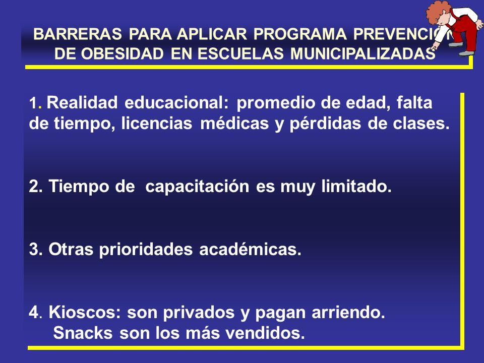 BARRERAS PARA APLICAR PROGRAMA PREVENCIÓN DE OBESIDAD EN ESCUELAS MUNICIPALIZADAS 1. Realidad educacional: promedio de edad, falta de tiempo, licencia