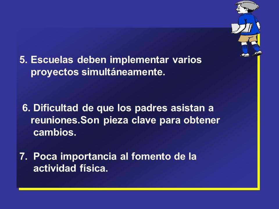 5.Escuelas deben implementar varios proyectos simultáneamente.