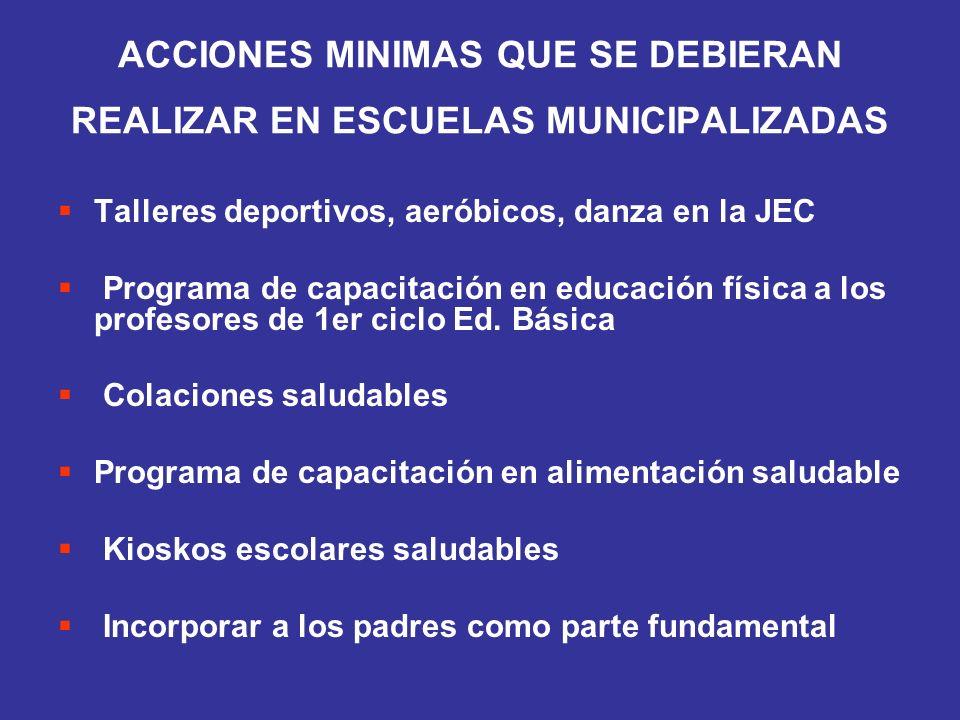ACCIONES MINIMAS QUE SE DEBIERAN REALIZAR EN ESCUELAS MUNICIPALIZADAS Talleres deportivos, aeróbicos, danza en la JEC Programa de capacitación en educ