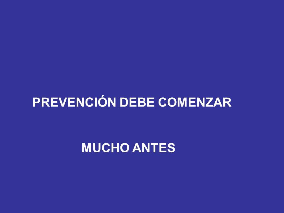 PREVENCIÓN DEBE COMENZAR MUCHO ANTES