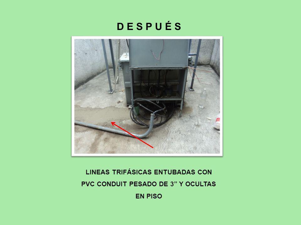D E S P U É S LINEAS TRIFÁSICAS ENTUBADAS CON PVC CONDUIT PESADO DE 3 Y OCULTAS EN PISO