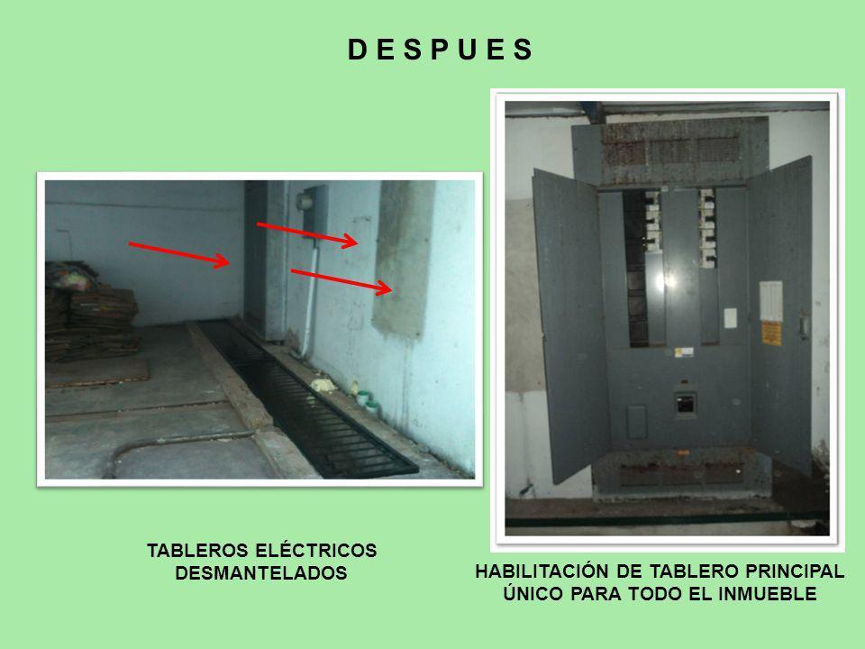 TABLEROS ELÉCTRICOS DESMANTELADOS D E S P U E S HABILITACIÓN DE TABLERO PRINCIPAL ÚNICO PARA TODO EL INMUEBLE