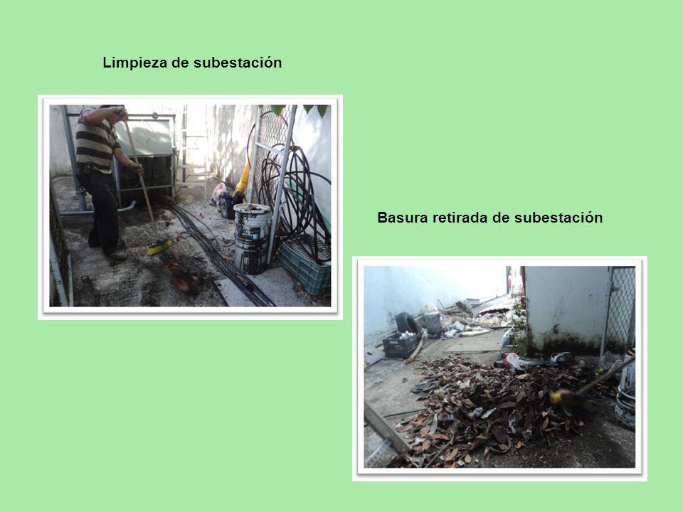 Limpieza de subestación Basura retirada de subestación