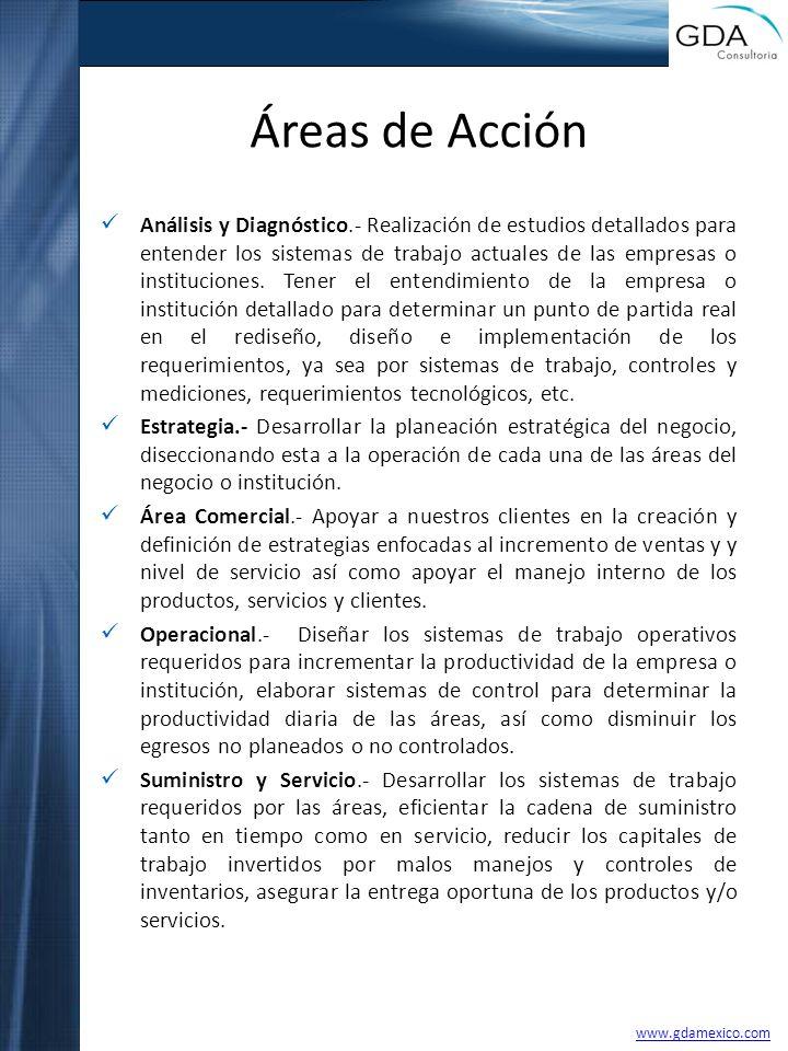 Áreas de Acción Análisis y Diagnóstico.- Realización de estudios detallados para entender los sistemas de trabajo actuales de las empresas o instituci