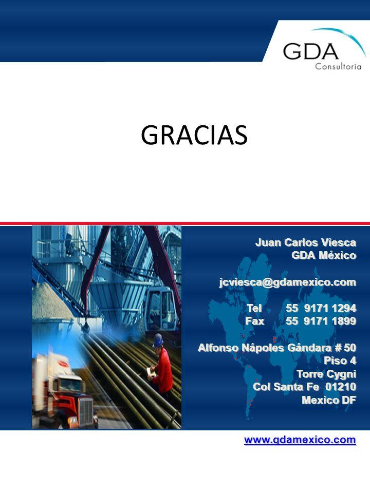 GRACIAS Juan Carlos Viesca GDA México jcviesca@gdamexico.com Tel 55 9171 1294 Tel 55 9171 1294 Fax 55 9171 1899 Alfonso Nápoles Gándara # 50 Piso 4 To