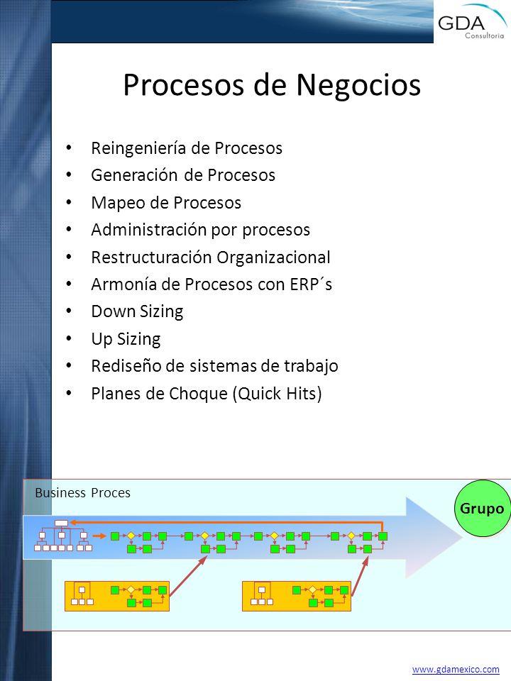 Procesos de Negocios Reingeniería de Procesos Generación de Procesos Mapeo de Procesos Administración por procesos Restructuración Organizacional Armo