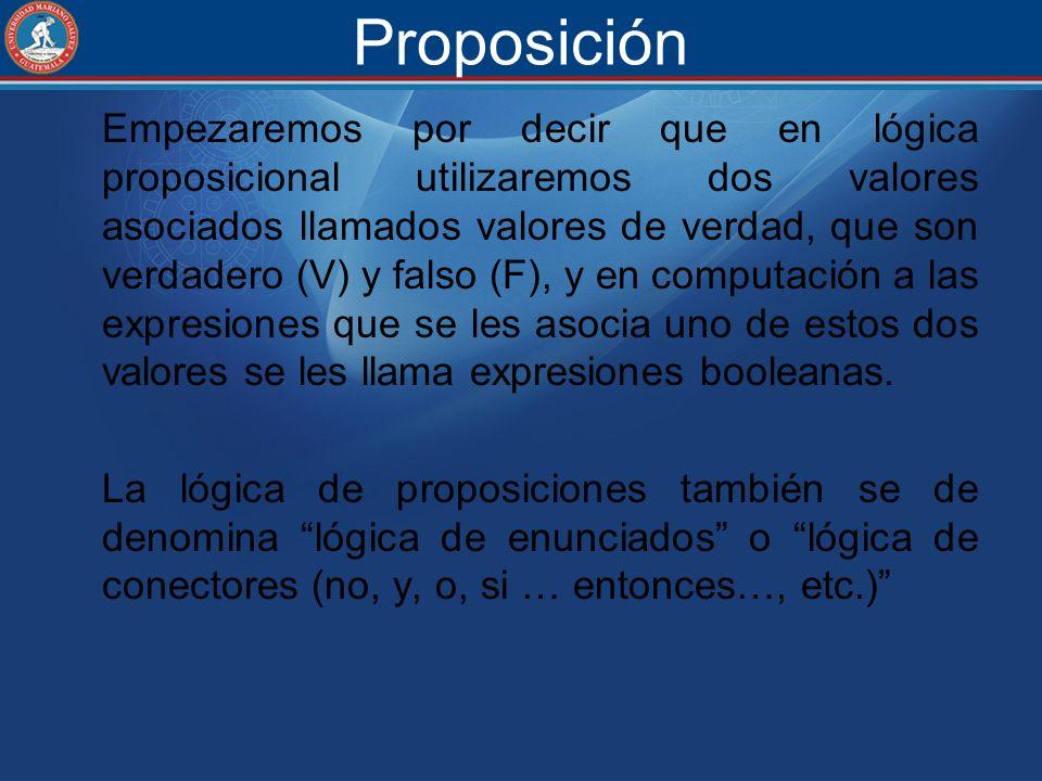 Proposición Empezaremos por decir que en lógica proposicional utilizaremos dos valores asociados llamados valores de verdad, que son verdadero (V) y f