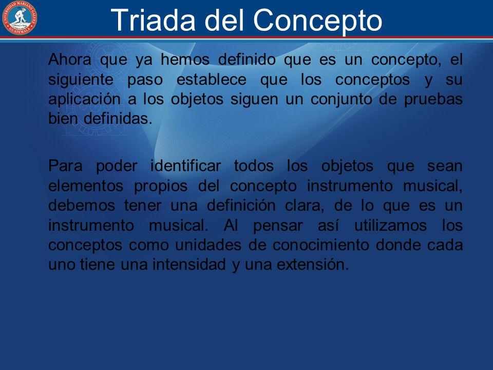 Triada del Concepto Ahora que ya hemos definido que es un concepto, el siguiente paso establece que los conceptos y su aplicación a los objetos siguen