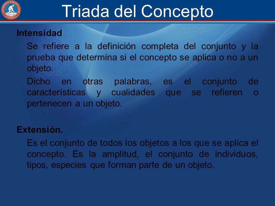 Triada del Concepto Intensidad Se refiere a la definición completa del conjunto y la prueba que determina si el concepto se aplica o no a un objeto. D