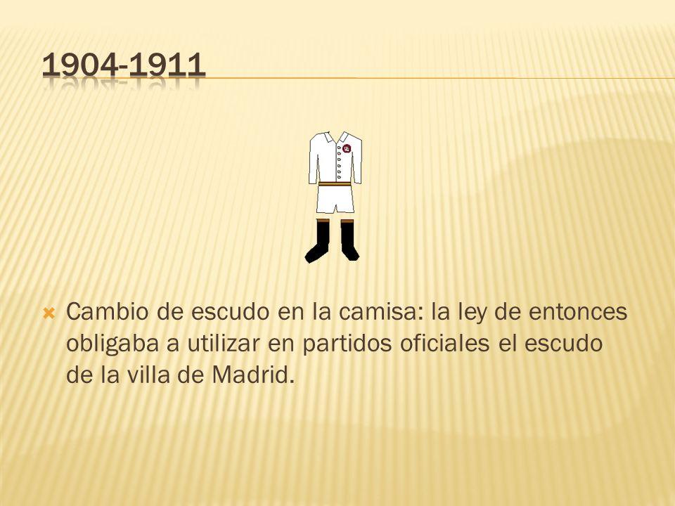 Equipación de 1902 hasta 1904. La primera de la historia del club blanco. Se puede observar la bandera española en pantalones y calcetines, además del