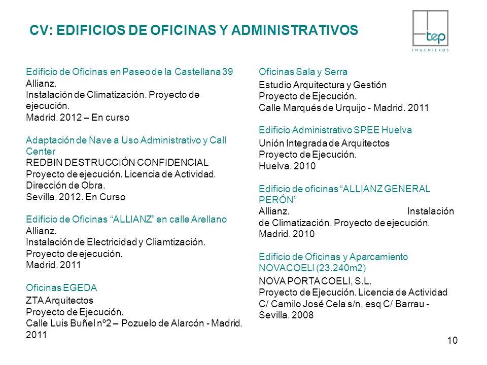 CV: EDIFICIOS DE OFICINAS Y ADMINISTRATIVOS Edificio de Oficinas en Paseo de la Castellana 39 Allianz. Instalación de Climatización. Proyecto de ejecu